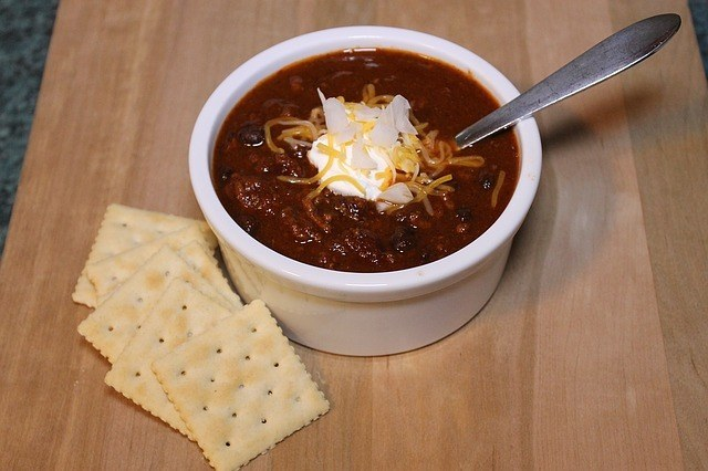 Squirrel chili and Crackers